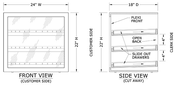 50ml Liquor Bottle Display CAD Drawing