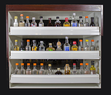 50 ml liquor bottle display in Jewel Mahogany finish